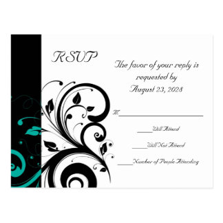 Black and White with Teal Reverse Swirl RSVP Postcard