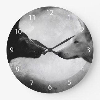 Black and white wolf - moon wolf - lupus wolf large clock