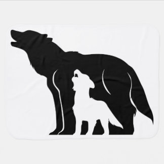 Black and White Wolves Baby Blanket