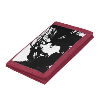 black and white woman trifold wallet