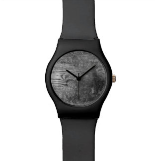 black and white wood plank face watch