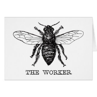 Black and White Worker Bee Vintage Card