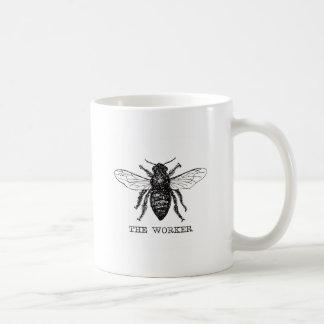 Black and White Worker Bee Vintage Coffee Mug