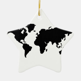 Black and white world illustration ceramic star decoration