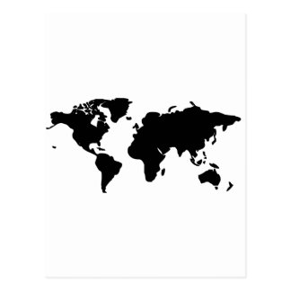 Black and white world illustration postcard
