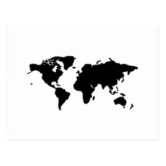 Black and white world illustration postcard