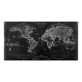 Black and White World Map (1827) Inverse Poster