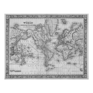 Black and White World Map (1864) Poster