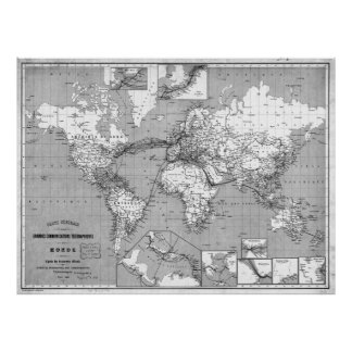 Black and White World Map (1898) Poster