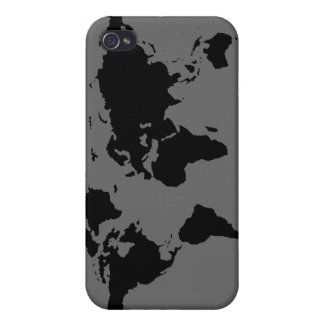 black and white World Map iPhone 4/4S Cases