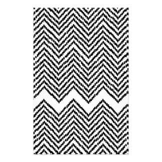 Black and White Woven Chevron Customized Stationery