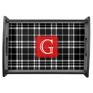 Black and White Woven Plaid Monogram Serving Tray
