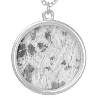 black and white wrinkled paper towel image round pendant necklace
