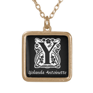 Black and White Y Monogram Initial Personalized Square Pendant Necklace