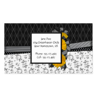 Black and White Yellow Daisy Business Card