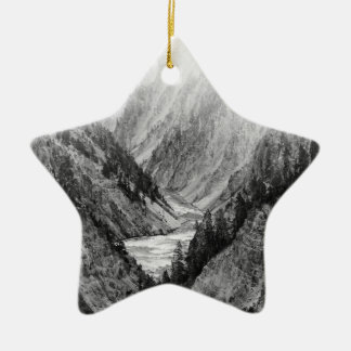 Black and White Yellowstone national park Ceramic Star Decoration