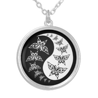 Black And White Yin Yang Tao Butterflies Silver Plated Necklace