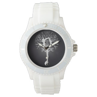 Black and white yoga tree with woman and yin yang. watches