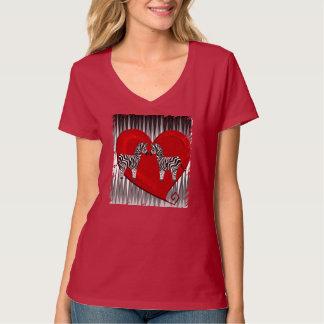 BLACK AND WHITE ZEBRA 84 HEART AND ZIG ZAG T-Shirt