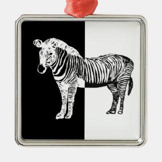 Black and white zebra christmas ornament