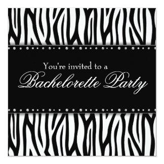 Black and White Zebra Diamonds Bachelorette Party 13 Cm X 13 Cm Square Invitation Card