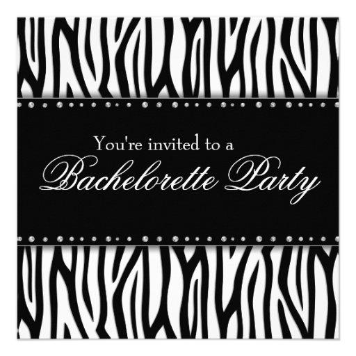 Black and White Zebra Diamonds Bachelorette Party Personalized Announcements