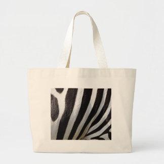 Black and White Zebra Hair Stripes Tote Bags