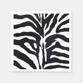 Black and white zebra jungle animal fashion paper napkins