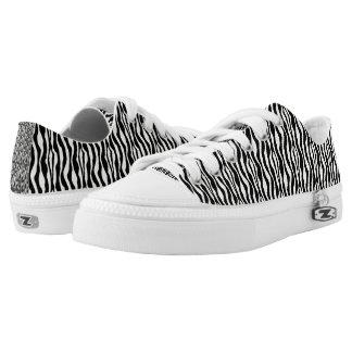 Black and White Zebra Pattern Print Low Tops