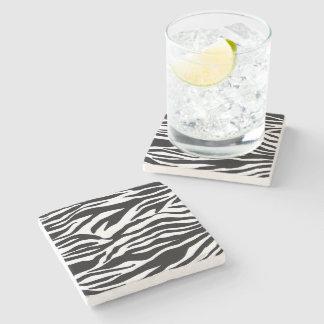 Black and White Zebra Pattern Print Stone Coaster