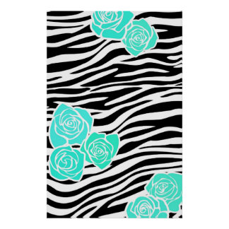 Black and white Zebra pattern + turquoise roses Poster