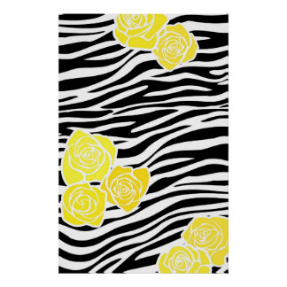 Black and white Zebra pattern + yellow roses Poster