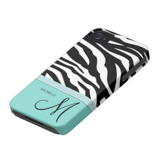 Black and White Zebra Patterns on Aqua Blue Case-Mate iPhone 4 Cases