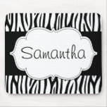 Black and White Zebra Personalised Mouse Pad