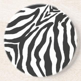 Black and White Zebra Print Beverage Coaster