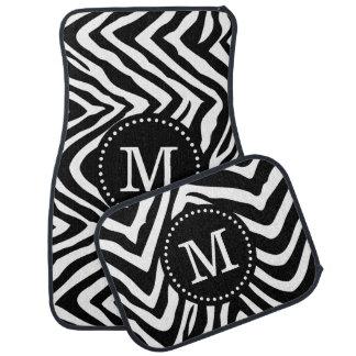 Black and White Zebra Print Custom Monogram Car Mat
