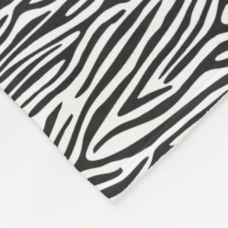 Black and White Zebra Print Fleece Blanket