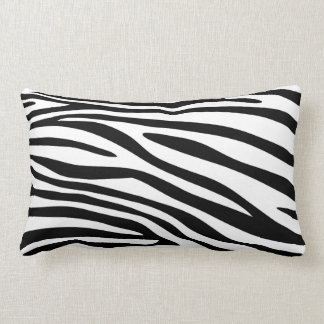Black and White Zebra Print Fur Lumbar Cushion