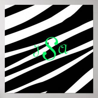 Black and White Zebra Print Monogram