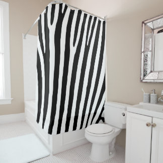 Black and White Zebra Print Pattern. Shower Curtain