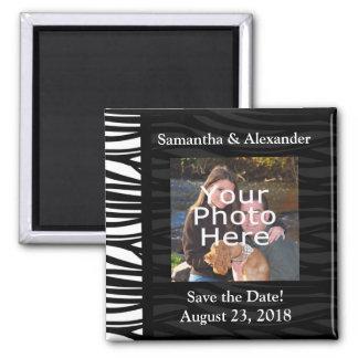 Black and White Zebra Print Photo Save the Date Magnet
