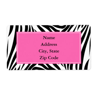Black and White Zebra Print with Hot Pink Shipping Label