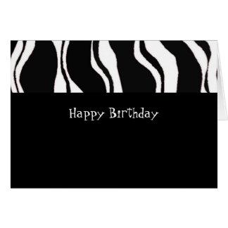Black and White Zebra Stripe Birthday Card