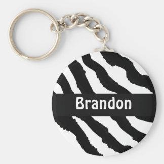 Black and White Zebra Stripe Personalized Keychain
