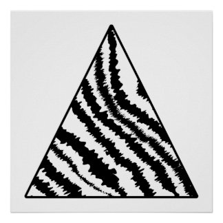 Black and White Zebra Stripe Triangle. Monochrome. Poster