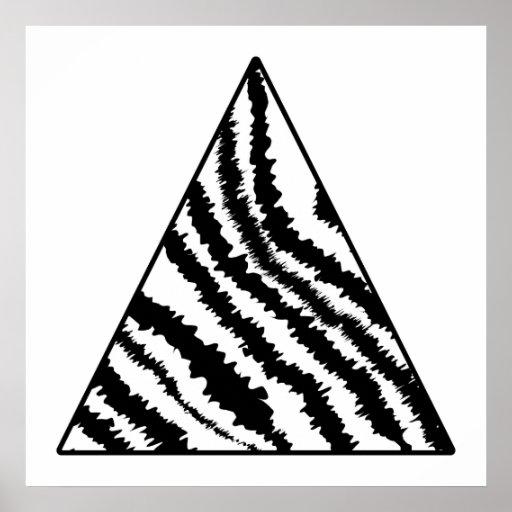 Black and White Zebra Stripe Triangle. Monochrome. Print