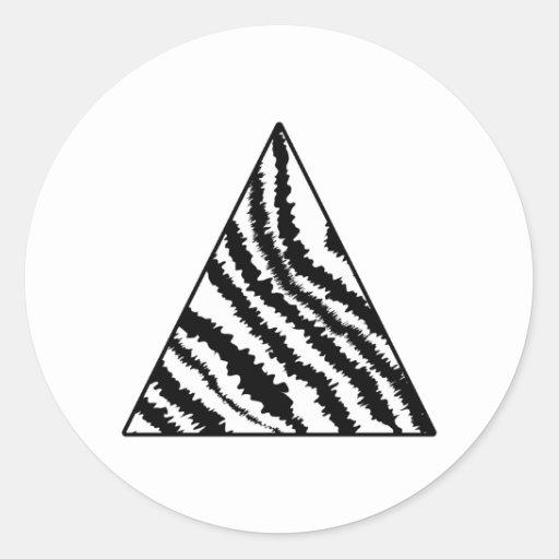 Black and White Zebra Stripe Triangle. Monochrome. Stickers
