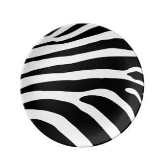 Black and White Zebra Stripes Animal Print Plate