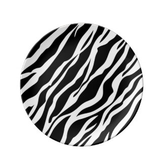 Black and White Zebra Stripes Animal Print Plate