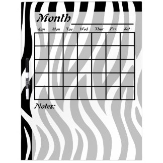 Black and White Zebra Stripes Calendar Dry Erase Board